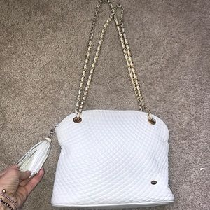 BALLY Quilted white leather chain bag with tassel!